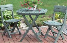 folding bistro set 3 piece outdoor wood portable patio balcony