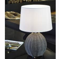Wicker Table Lamp Eglo 91913 Roia Grey Wicker Table Lamp With Beige Shade