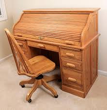 Oak Roll Top Secretary Desk by Eagle Craft Roll Top Desk And Rolling Chair Ebth
