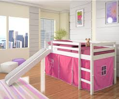 white painted solid wood little bunk beds using soft pink
