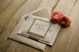 gold wedding invitations with glamorous touch registaz
