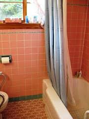 best colors to paint walls in pink and blue tiled bathroom