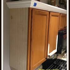 Kitchen Cabinet Makeover  Install Crown Molding HelloI Live Here - Kitchen cabinets moulding