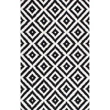 White And Black Area Rug Mercury Row Obadiah Tufted Wool Black Area Rug Reviews