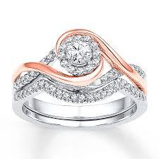 what are bridal set rings diamond bridal set 1 3 ct tw cut 10k two tone gold