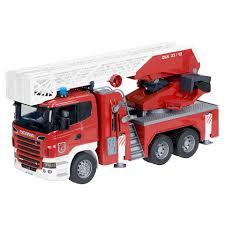 bruder fire truck brüder scania brandweerwagen rood intertoys