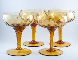 Hand Blown Wine Glasses by Champagne Glass Amber Empoli Murano Twisted Stem Crosshatch Optic