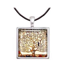 art glass necklace images Klimt tree of life necklace jpg
