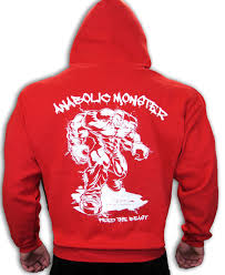 red anabolic monster bodybuilding clothing hoodie gym workout top