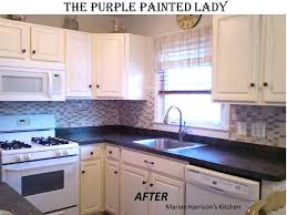 how to refinish painted kitchen cabinets refinishing painting kitchen cabinets purple painted lady chalk