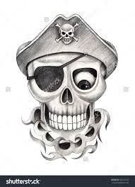 cool grey ink pirate skull tattoo design