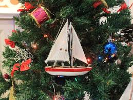 buy wooden usa sailboat model tree ornament 9 inch