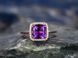 cushion amethyst engagement ring solid 14k rose gold halo diamond