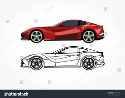 detailed side flat red sports car stock vector 493477705