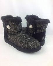 ugg womens mini bailey button sale s ugg australia mini bailey button fancy black boots sz 8