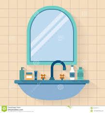 bathroom sink with mirror stock vector image 55549414