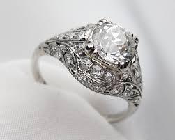 art deco engagement ring palladium filigree diamond ring art deco