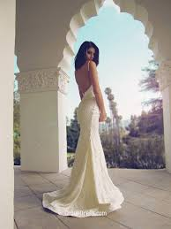 spaghetti straps floor length lace backless mermaid wedding dress
