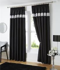 Silver Black Curtains Pencil Pleat Lined Curtains White Black Or Silver Grey Faux Silk