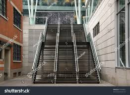 modern exterior stairs between two buildings stock photo 74799862