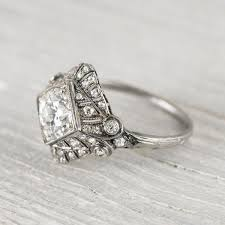 antique deco cushion cut diamond platinum engagement ring 82103