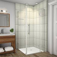 delta 36 in x 36 in x 76 in 3 piece corner frameless shower