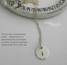 personalized jewlery sted semicolon necklace personalized jewelry semicolo