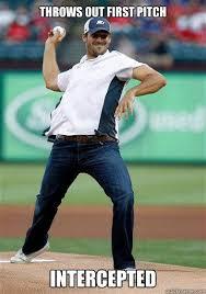Romo Interception Meme - throws out first pitch intercepted romo quickmeme