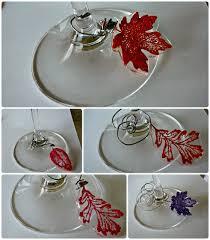 fall wine glass charms and some fall decor created using martha