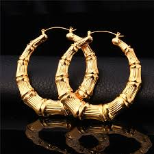 real gold earrings aliexpress buy collare bamboo hoop earrings for women gold