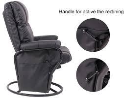 Black Rocking Recliner Amazon Com Merax Black Pu Leather Nursing Glider Rocker Recliner
