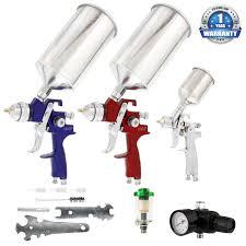 3 gun master spray gun set with 3 cups all accessories