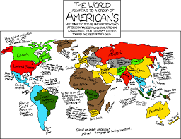 america in world map xkcd world according to americans