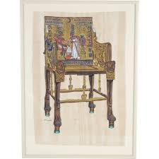 Egyptian Chair Egyptian Oil Painting Tutankhamun Ankhesenamun Ancient Throne