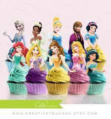 princess cupcake toppers cinderella belle aurora elsa anna