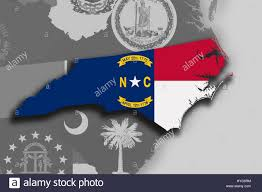 North Carolina Flag Illustration Of The State Of North Carolina Silhouette Map And