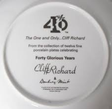 40th anniversary plate cliff richard the one and only 40th anniversary uk