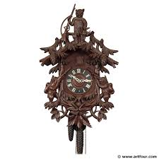 black forest carved bear wood cuckoo clock