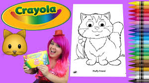 coloring a fluffy kitty cat coloring book page crayola crayons