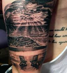 mens beach scene tattoo designs on arm tattoos pinterest