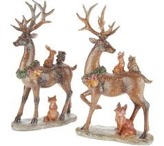 set of 2 glistening deer with woodland animals by valerie page 1