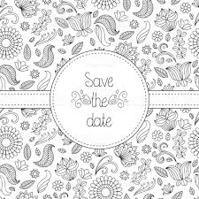 black and white vector wedding invitation card in floral frame and