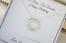 silver rings necklace images 50th birthday gift for mom 5 interlocked rings jpg