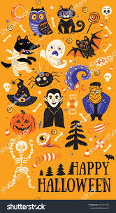 free halloween tiled background happy halloween vector set characters icons stock vector 485473462
