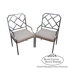 Chinese Chippendale Chair by 9632 Design Institute Of America Milo Baughman Pair Of Chrome