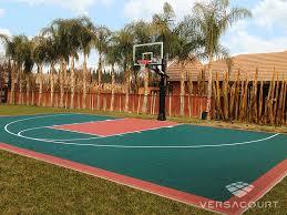 Half Court Basketball Dimensions For A Backyard by Versacourt Backyard Basketball Court Photos U0026 Ideas