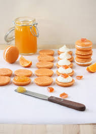 clementine macarons with two choices of filling clementine jelly