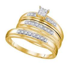 Trio Wedding Ring Sets by Buy His And Her Trio Wedding Rings Set 10k Yellow Gold 0 12ct In
