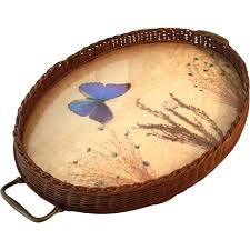 butterfly serving platter vintage woven basket serving tray with butterfly dried flowers