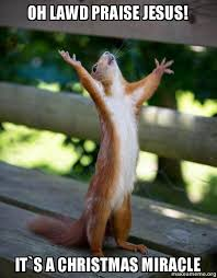 Christmas Miracle Meme - oh lawd praise jesus it s a christmas miracle happy squirrel